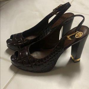 Tory Burch peep toe heels size 7.5